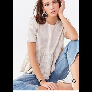 NWT forever 21 stripped tie back top size medium